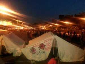 An anarchist tent in Tahrir Square