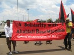Anarchist banners at Abahlali baseMjondolo Solidarity March, Jo'burg, 5 December 2009
