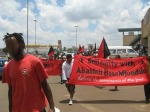 Anarchist banners at Abahlali baseMjondolo Solidarity, Soweto, 5 December 2009